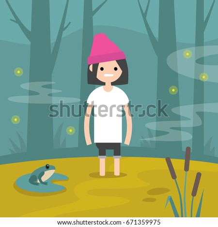 young female character stuck in