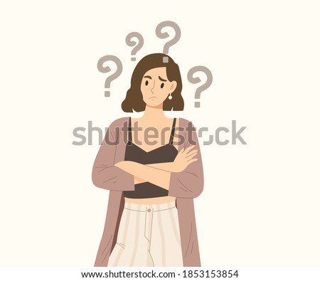 Young female crossing her arms and making doubt face with question mark over her head. Concept of curious thought, forgetfulness, wondering, clueless. figure out. Flat vector illustration.