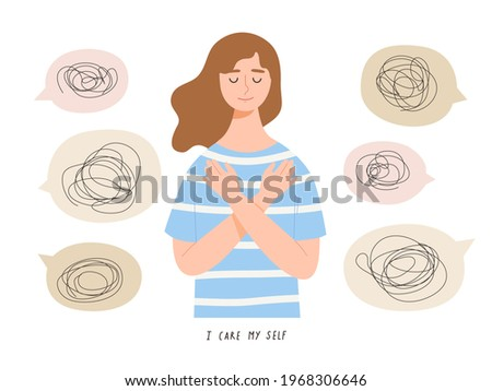 Young female embraces her self and does not care about bad comments from people. Concept of self love, self care, confidence, encouragement, support, mental health, good mind. Flat vector illustration Stock photo ©