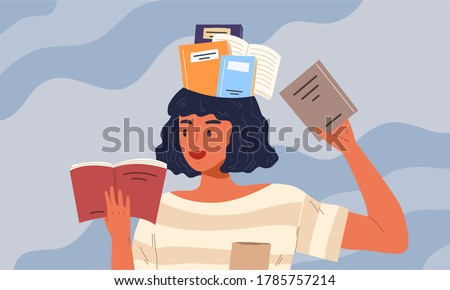 Young female smiling while reading book and there are books in her head. Concept of reading for exam, knowledge, studying, education, bookworm, smart girl, diligent student. Flat vector illustration.  Foto stock ©