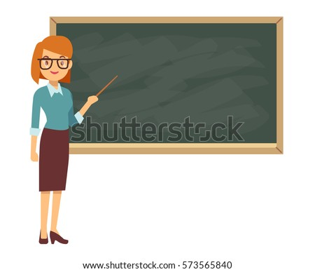 young female teacher on lesson