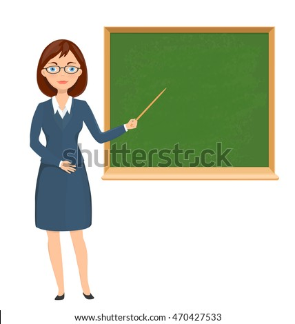 Young female teacher pointing on chalkboard. education theme cartoon illustration. vector