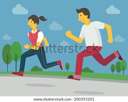 Young fitness man and woman jogging on street among green environment, healthy, relaxation and fitness lifestyle concept. Cartoon vector illustration.
