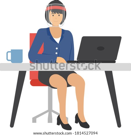 Young freelancer is sitting on  executive chair with laptop and cup of coffee or tea at office concept vector Icon Design, Lady wearing coronavirus medical face shield while working illustation, New n Foto stock ©