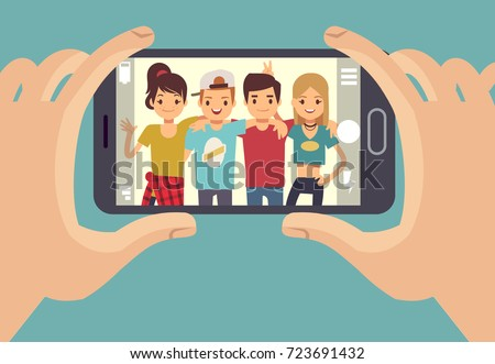 Young friends teenagers taking photo with smartphone. Friendship vector concept. Friends photo on smartphone camera, portrait happy people illustration