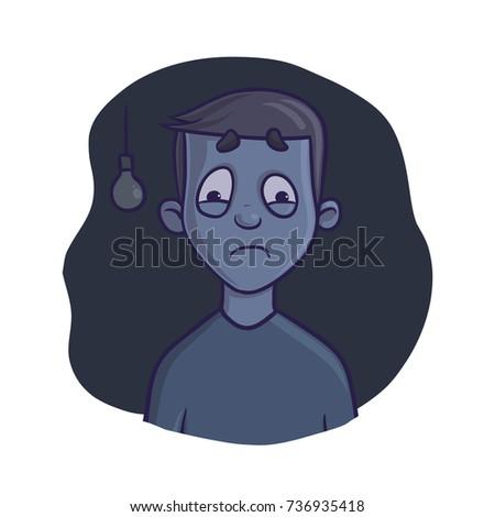 young frightened boy in dark