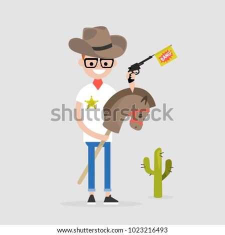 young funny sheriff riding a