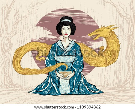 Young geisha in Japanese traditional kimono dress. Asian girl sitting with cup of herbal tea in hands. Cloud of smoke golden gilt dragon. Vintage retro old poster for souvenir shop, restaurant