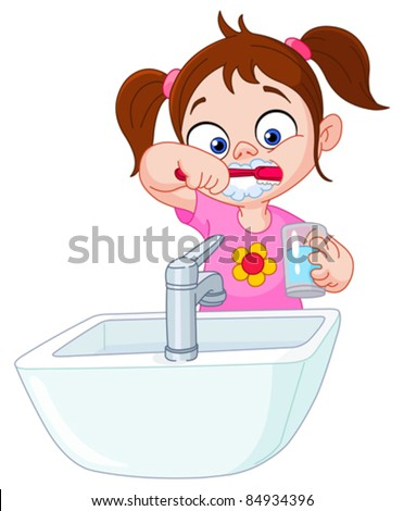 Young girl brushing her teeth - stock vector