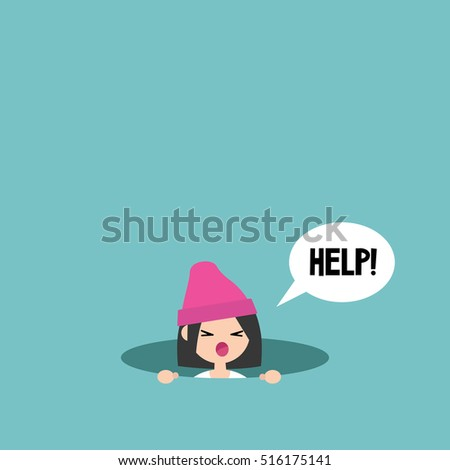 young girl calling for help in