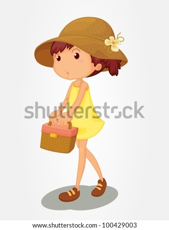 Young girl carrying a basket