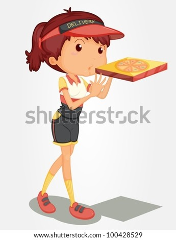 Young girl delivering a pizza
