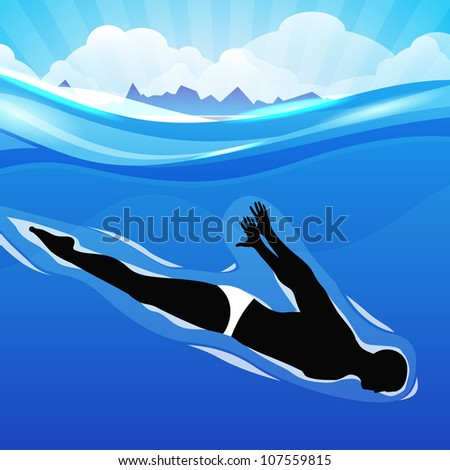 Young girl doing wonderful synchronized swimming in pool with abstract rays design in water background,EPS 10.