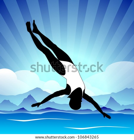 Young girl doing wonderful synchronized swimming in pool with abstract rays in water background,EPS 10.