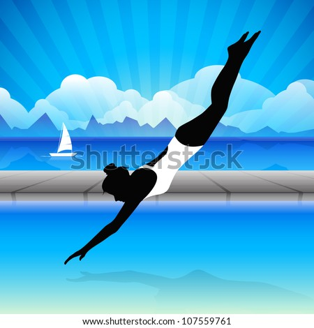 Young girl doing wonderful synchronized swimming in pool with abstract wave in water background,EPS 10.