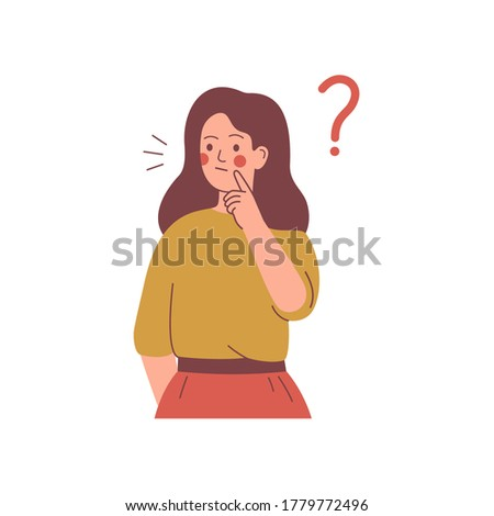 Young girl doubts and has a question. woman in casual clothes surrounded by a question mark. Flat cartoon vector illustration.