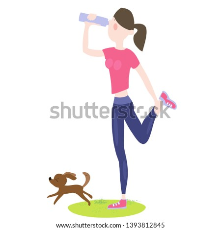 Young girl exercising outdoors, drinking water from a bottle while jogging, morning jogging, jogging by the park, marathon, active healthy lifestyle, cartoon characters, color illustration in vector