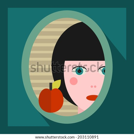 young girl face in the mirror