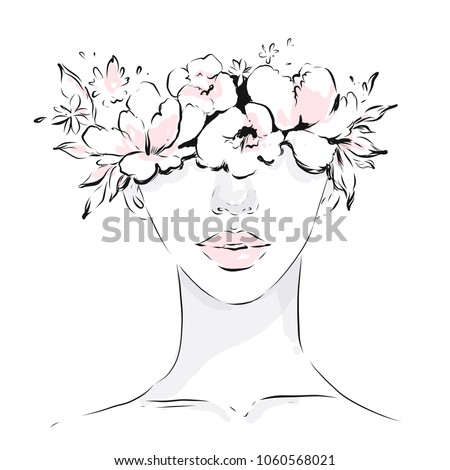 young girl face with spring