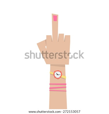 young girl hand with middle