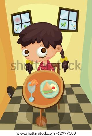 Young girl having healthy breakfast at home- Indoor
