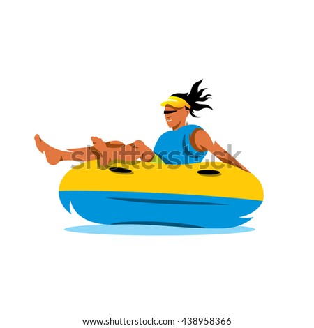 Young girl having lots of fun on rubber ring going down the water slide. Vector Cartoon Illustration. Unusual Logo template isolated on a white background