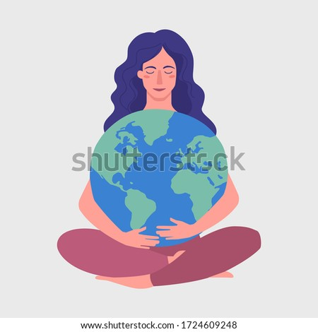 young girl hold planet globe
