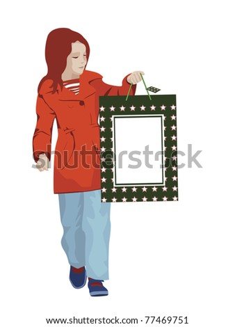 young girl holding shopping bag