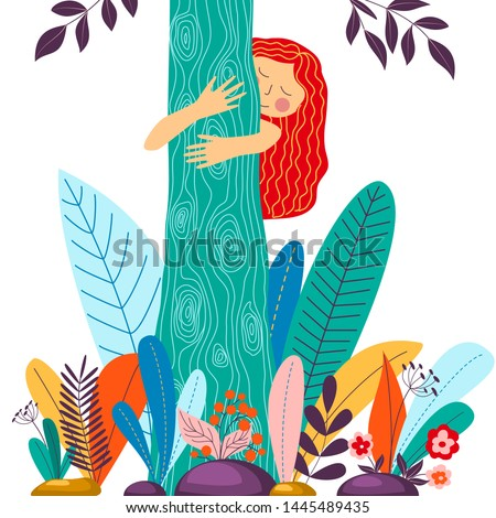 young girl hugging tree eco