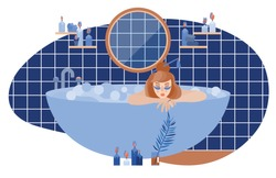 Young girl in a bath with foam. Spa therapy at home. keep calm and stay home.