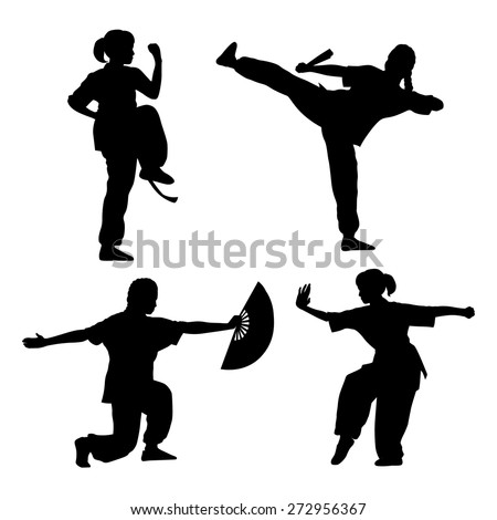 young girl in a pose of wushu