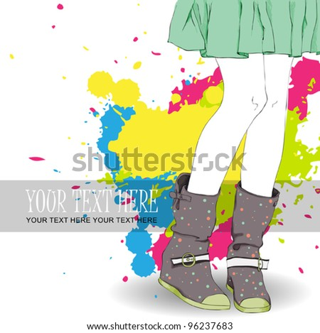Young girl in boots on a grunge-background. Vector illustration - stock vector