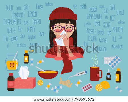 Young girl in glasses and red hat caught cold flu or virus. She has red nose, high temperature and holds handkerchief. Ways to treat illness. Text around. Vector isolated objects on blue background