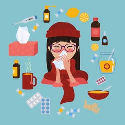 Young girl in glasses and red hat caught cold flu or virus. With red nose, high temperature and holds handkerchief. Ways to treat illness in a circle around. Vector isolated objects on blue background