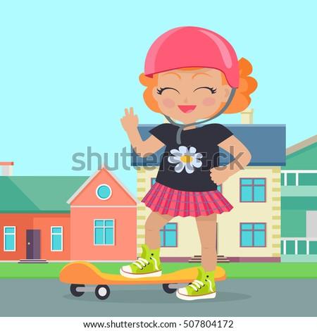 young girl in helmet skateboard