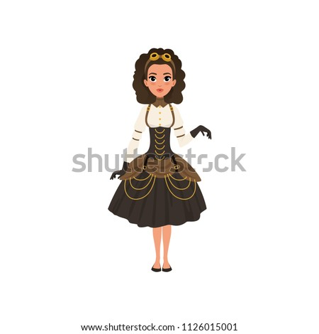 young girl in steampunk costume