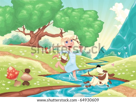 young girl is running with dog