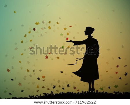 young girl is standing and touching the autumn leaves, autumn feelings, autumn memories, vector