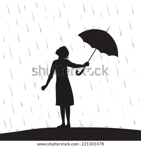 Stock Photo young girl is standing under the rain and take away the umbrella