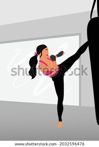 Young girl kicking a sand bag in kickboxing gym. Woman fitness, sport, exercise and muy thai concept. Kick boxing girl vector. Foto stock ©