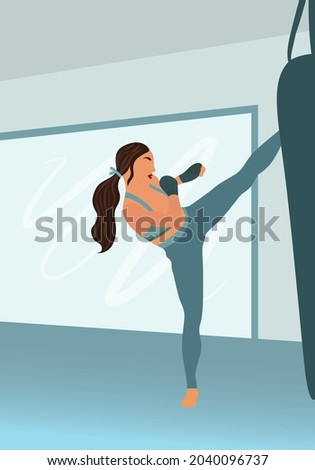 Young girl kicking a sand bag in kickboxing gym. Woman fitness, sport, exercise and muy thai concept. Kick boxing girl vector Foto stock ©