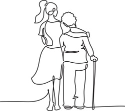 Young girl nurse hugs an elderly woman. Mother's Day. Mother with her daughter continuous one line vector illustration minimalism style