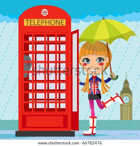 Young girl opening a red telephone booth in London under the rain