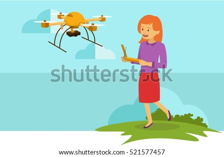 young girl playing drone outdoor
