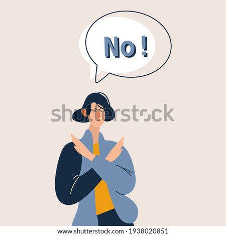Young girl raising both hands making sign of rejection. Say NO sign. Concept of refusal, rejection, denial, stop, negation, declination. Flat vector illustration cartoon character. Photo stock ©
