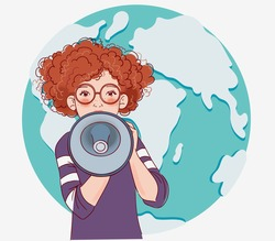 Young girl shouting on the megaphone. World map background