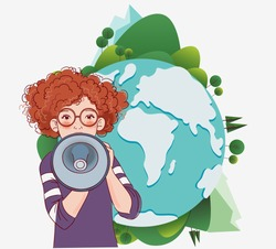 Young girl shouting on the megaphone. World map background. Eco friendly ecology concept