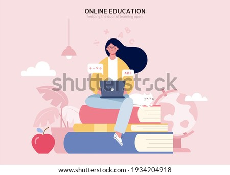 Young girl sitting on pile of books and using laptop. Flat illustration of e learning and tutorial concept.