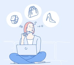 Young girl sitting on the sofa and she thinking about purchasing through the internet, she spends via credit card. Hand drawn in thin line style, vector illustrations.