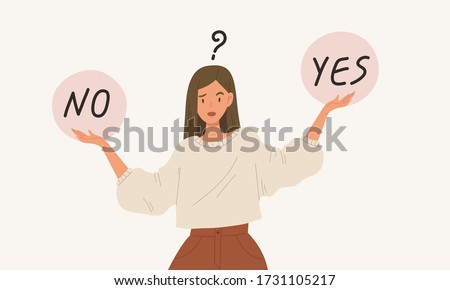 Young girl standing confusedly to choose YES or NO, flat style vector illustration cartoon character. Concept of choice, selection, answer, reply, accept of refuse. Use with advertisement or business.